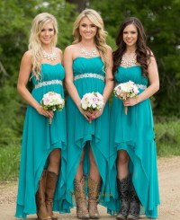 Teal Chiffon High Low Strapless Bridesmaid Dress With ...