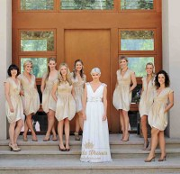 Champagne V Neck Cap Sleeve Short Ruched Bridesmaid Dress ...