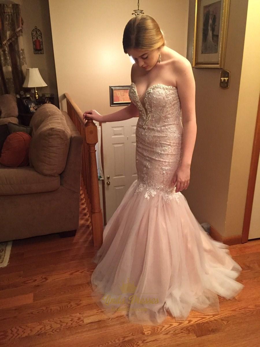 Blush Pink Strapless Drop Waist Mermaid Prom Dress With