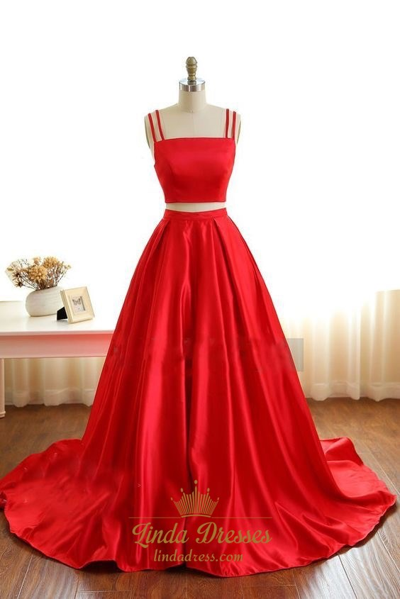 Red Simple Spaghetti Strap TwoPiece Satin ALine Ball Gown Prom Dress  Linda Dress
