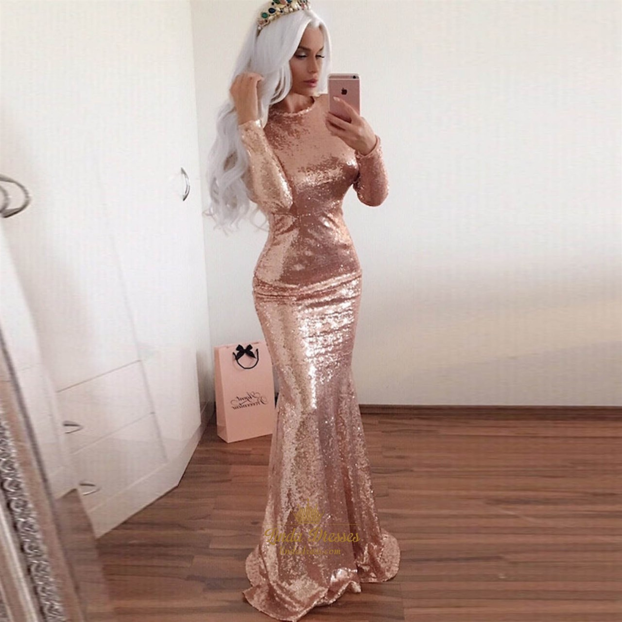 Champagne Long Sleeve Full Sequin Mermaid Prom Gown With Open Back  Linda Dress