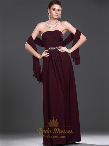 Burgundy Strapless Beaded Chiffon Bridesmaid Dresses With