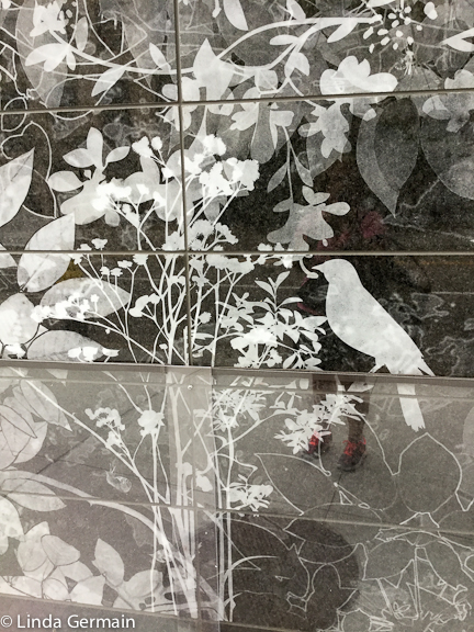 sandblasted granite wall at Boston Children's Hospital