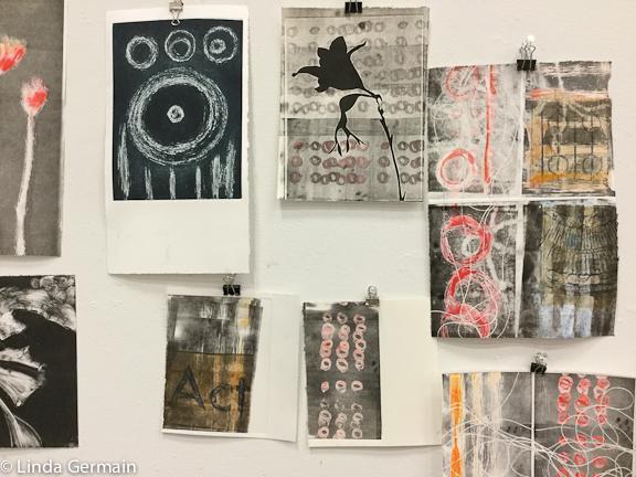 Monotype prints in progress