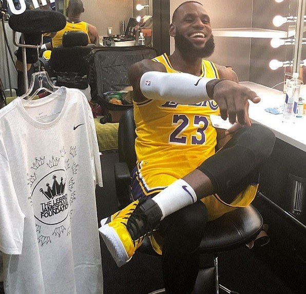 LeBron James pictured in LA Lakers uniform for the first time ahead for new season in California (Photos)