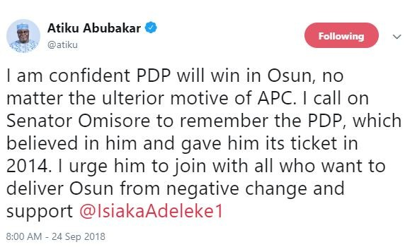 'I am confident PDP will win in Osun, no matter the ulterior motive of APC' - Atiku