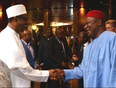 President Buhari holds closed door meeting withformer Senate president,Pius Anyim