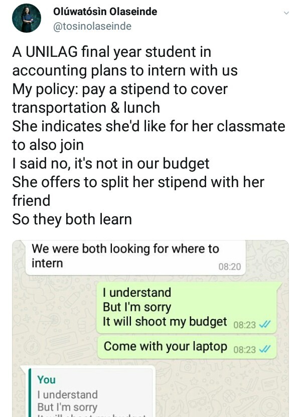 Nigerian lady offers to shares her stipends with friend so they could acquires skills together during intenship