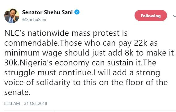 NLCs nationwide mass protest is commendable, the struggle must continue - Shehu Sani