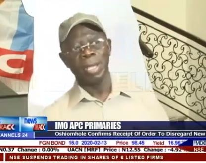 Video: Adams Oshiomhole confirms bubmission of Dapo Abiodunand Hope Uzodinma as Ogun and Imo guber candidates ho INEC