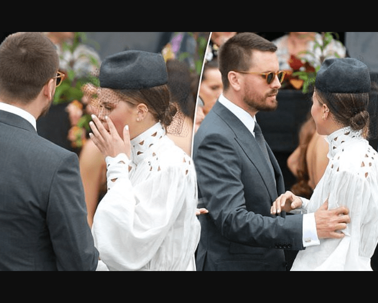 Sofia Richie, 20, appears to wipe away tears during a 'heated exchange' with boyfriend Scott Disick, 35, at an event (Photos)