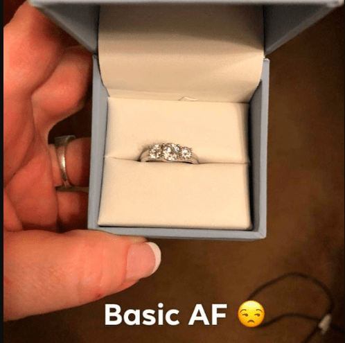Internet blows up as 'ungrateful' woman finds diamond engagement ring before boyfriend proposes and says the band is 'basic AF'