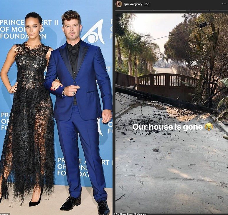 'Our house is gone'- Robin Thicke and April Love Geary's $2.4m Malibu mansion is destroyed in California fires