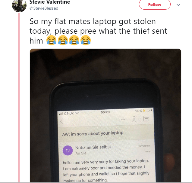 See the viral mail a theft sent a University student after he stole his Laptop