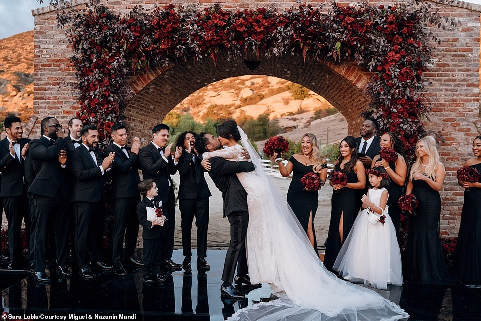 Singer Miguel & his girlfriend of 13 Years Nazanin Mandi tie the knot in a romantic wedding(Photos)