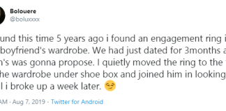 Lady recounts hiding an engagement ring her boyfriend bought to stop him from proposing to her