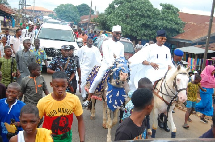 Lawmaker, Shina Peller celebrates sallah by riding a horse from eid to his family house (Photos)