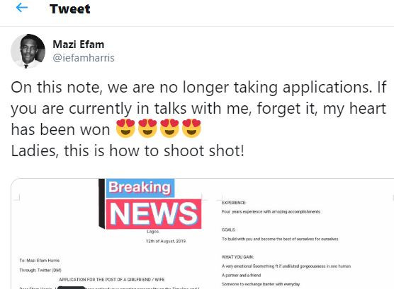Twitter goes wild after Nigerian lady shoots her shot at her crush by sending him an email with her CV showing her
