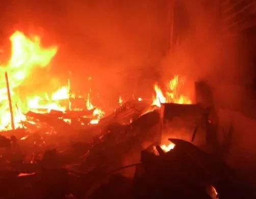 , Fire razes Edo State spare parts market, All9ja