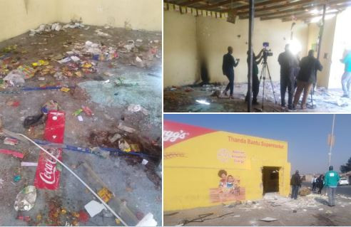 South African residents in Soweto go on a rampage, looting foreign-ownedshops