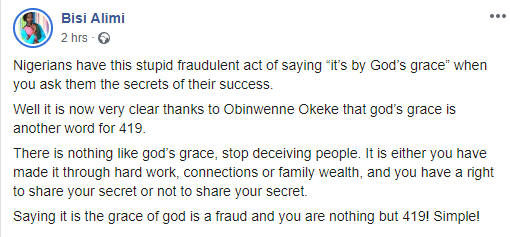 Obinwanne Okeke has shown that God's Grace is another word for 419 - Bisi Alimi reacts to arrest of Invictus Group CEO by FBI lindaikejisblog  1
