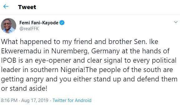 What happened toIke Ekweremadu inGermany at the hands of IPOB is an eye-opener, the people of the south are getting angry - FFK