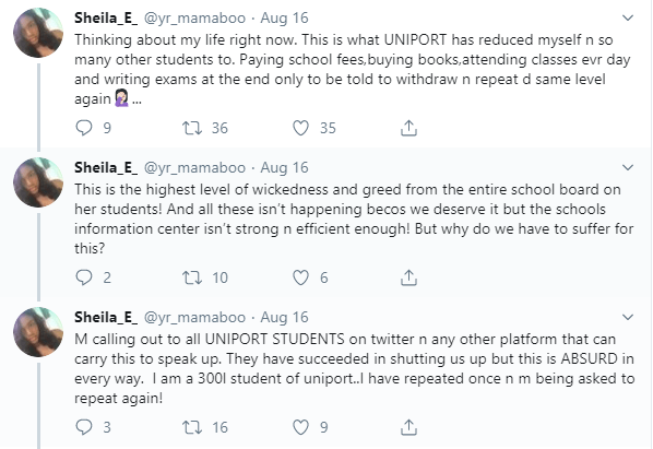 UNIPORT students cry out after being asked to repeat a level