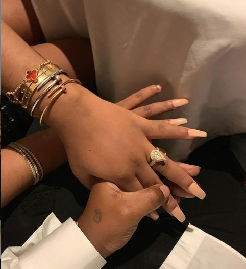 #Assurance2020: 'She said YES' - Davido shows off Chioma's huge engagement ring