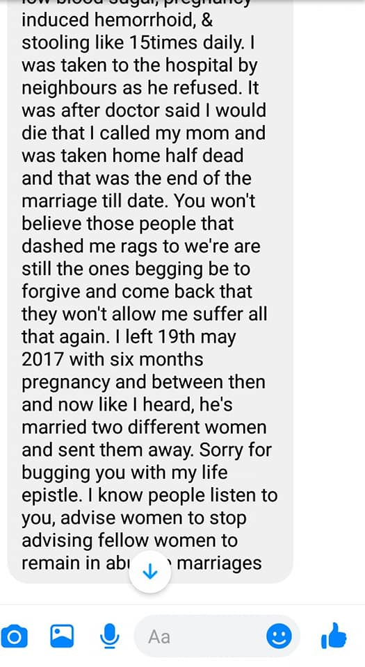 Nigerian man shares chat from an old school friend who went through a scathing domestic abuse lindaikejisblog 8