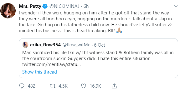 Nicki Minaj speaks out on the death of Joshua Brown who was killed after he testified against Botham Jean's killer, Amber Guyger
