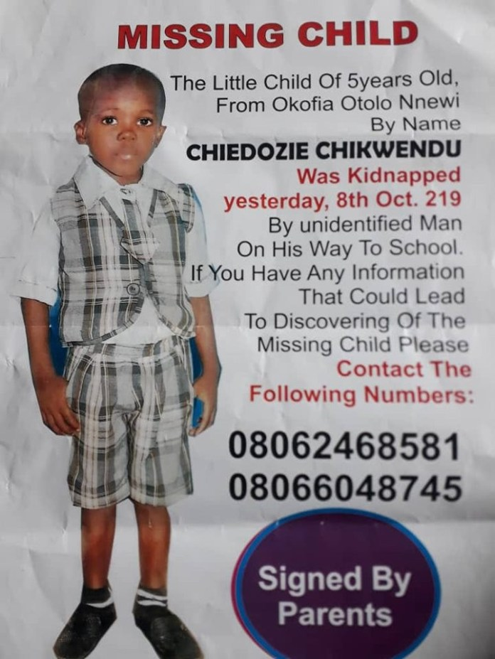 Photo: 5-year-old boy abducted in Nnewi