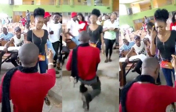 Benue University Student slaps man who proposed to her in lecture hall (video)