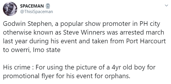 Rivers-based show promoter allegedly detained over a year for using four year old boy's picture on his flyer