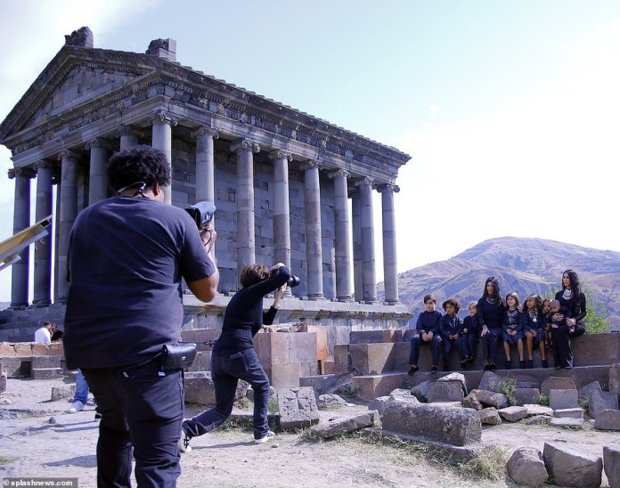 Kim Kardashian and sister Kourtney are joined by all their children in matching outfits for adorable photoshoot at the Temple Of Garni in Armenia