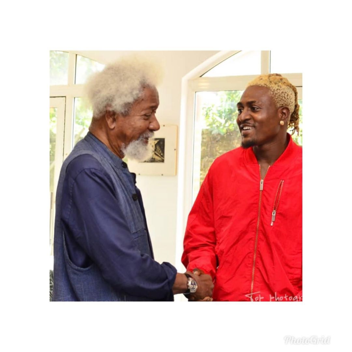 Caption this new photo of Professor Wole Soyinka and street hop act, Idowest
