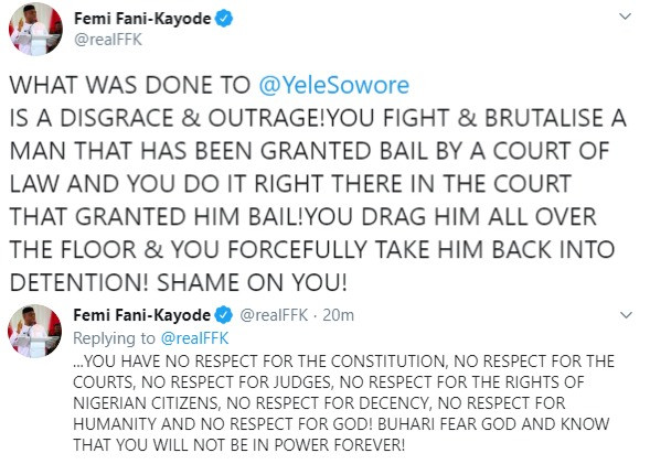 Buhari fear God and know that you will not be in power forever- FFK reacts to Sowore's rearrest