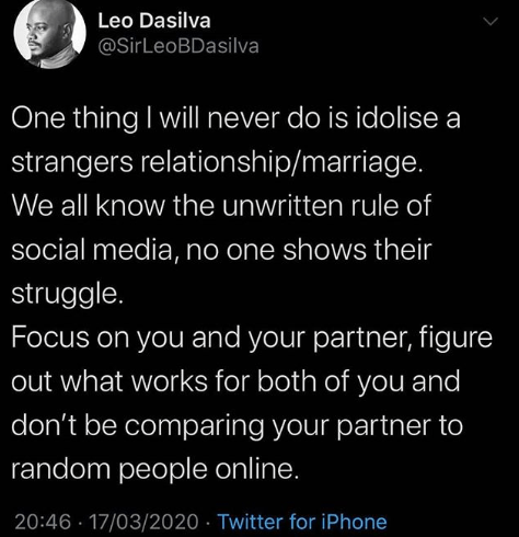 """""""No one shows their struggle"""" BBNaija's Leo Dasilva says as he advises couples not to compare their relationships to others"""