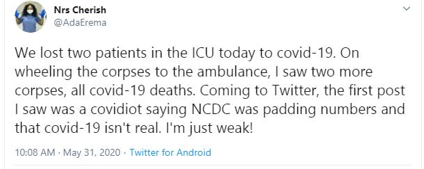 Nigerian nurse slams Twitter user who say Coronavirus is not real lindaikejisblog 1