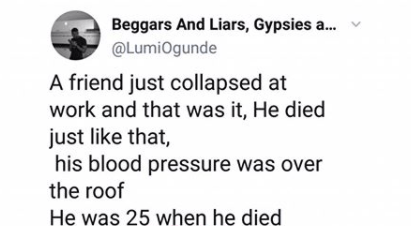 Photographer narrates how his friend collapsed at work and died of HBP at the age of 25 lindaikejisblog