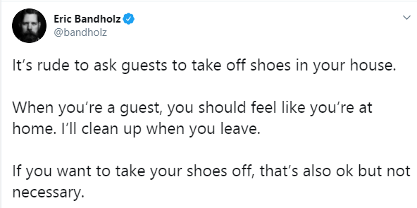 Its rude to ask guests to take off shoes in your house - YouTuber Eric Bandholz lindaikejisblog