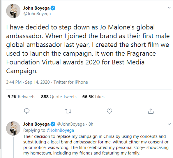 I dont have time for nonsense - John Boyega ends ambassadorial deal with Jo Malone after being cut out of an advert for the Chinese market lindaikejisblog 1