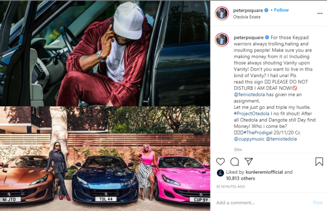 Make sure you are making money from trolling people - Peter Okoye tells keypad warriors as he reacts to Otedola buying Ferraris for his daughters lindaikejisblog 1