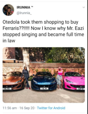 Mr Eazi trends as Nigerians hilariously react to Otedola buying Ferraris for his daughters including his girlfriend Temi lindaikejisblog  2
