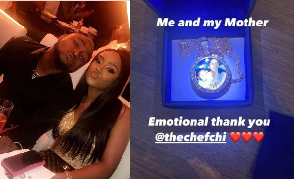 Davido shows off a neck chain with an image of him and his mother he got as birthday gift from Chioma