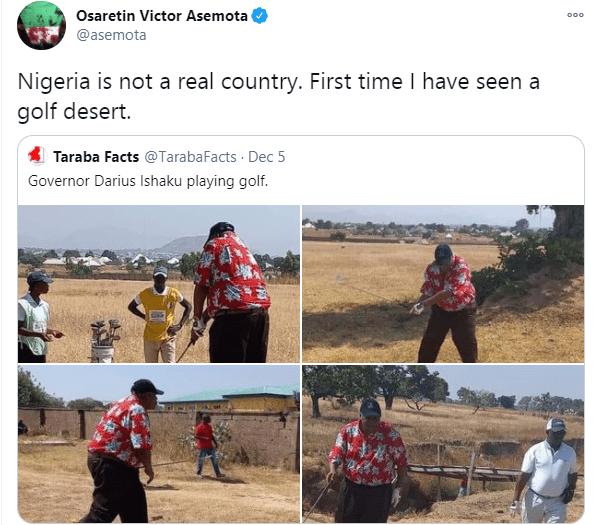 This is a golf desert - Nigerians react to photos of Governor Darius Ishaku playing golf lindaikejisblog 5