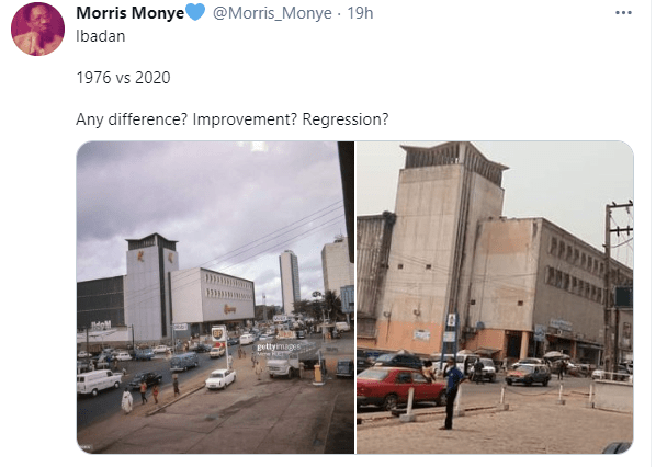 Man shares photos of a street in Ibadan in 1976 and 2020, and not much has changed lindaikejisblog 1