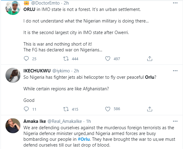 Nigerian Military accused of carrying out air strikes in Orlu, a civilian populated area in Imo state 3