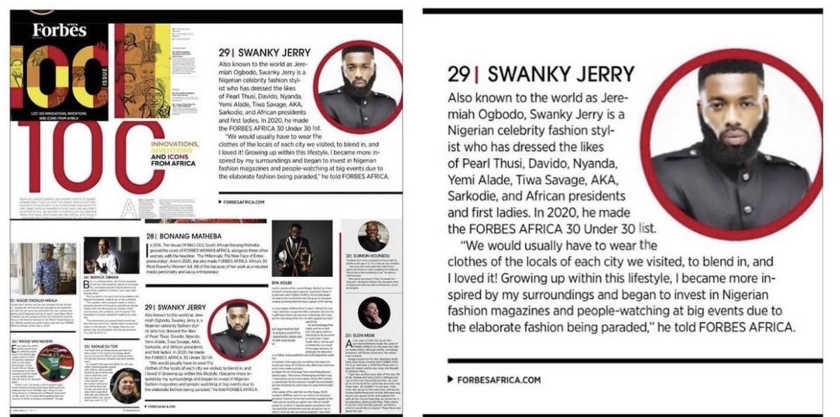 Celebrity stylist Jeremiah Ogbodo popularly known as Swankyjerry, Barack Obama, Ngozi Okonjoiweala, Lupita Nyongo, Elon Musk, Genevieve Nnaji and many more listed on Forbes 2021 100 icons from Africa lindaikejisblog1