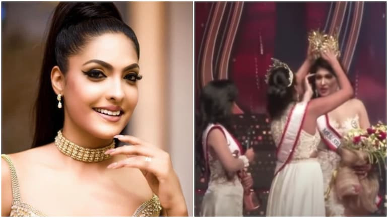 Update: Mrs. World is arrested for removing the crown off Mrs. Sri Lanka's head on stage over divorce claims