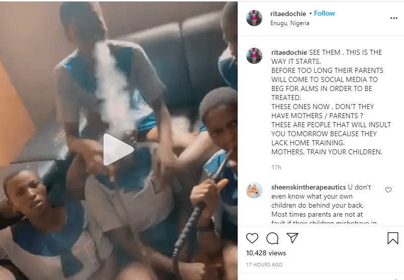 These are the people that will insult you tomorrow because they lack home training - Actress Rita Edochie reacts to video of young girls smoking shisha in school uniform 1